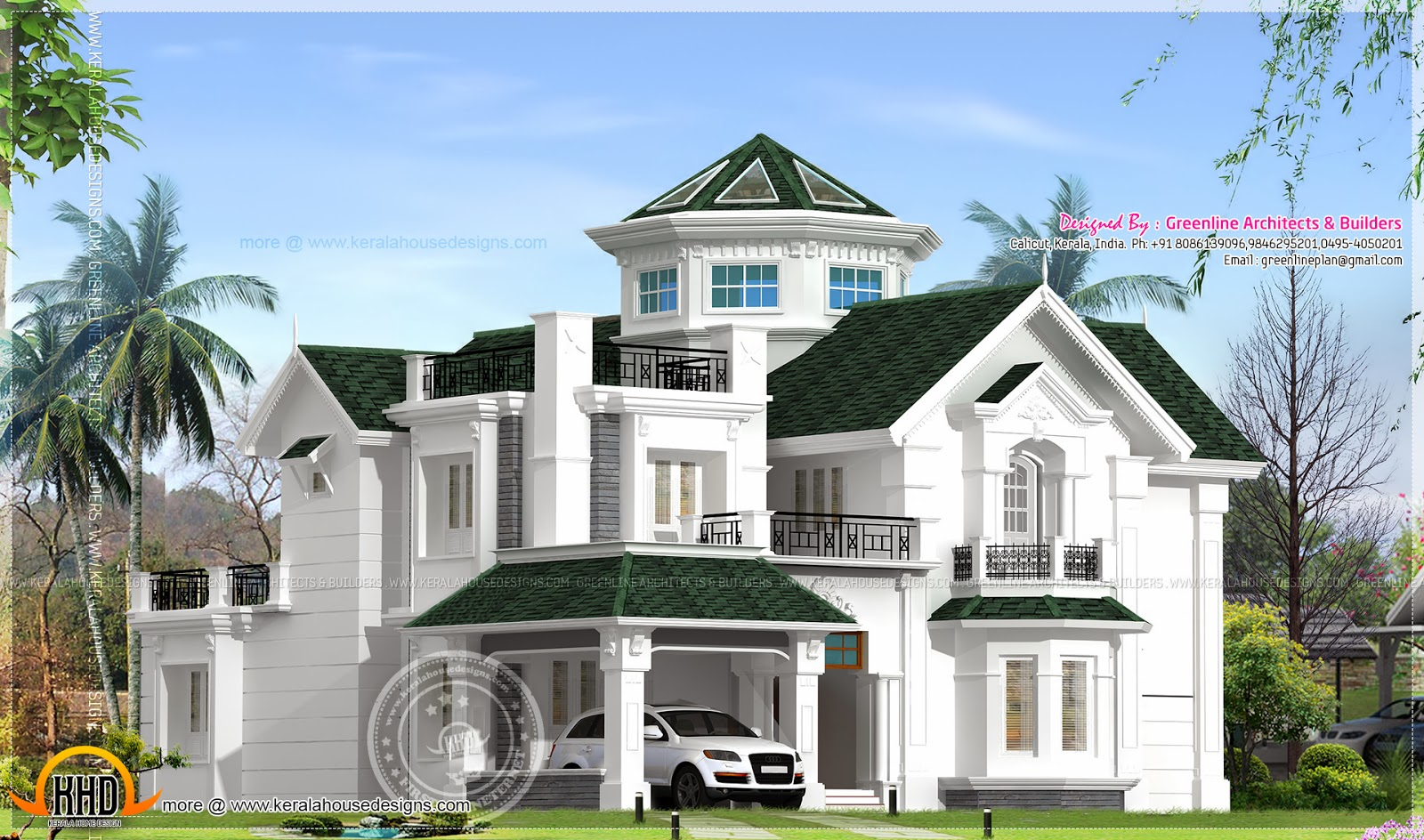 Colonial style house in kerala for Colonial style house plans