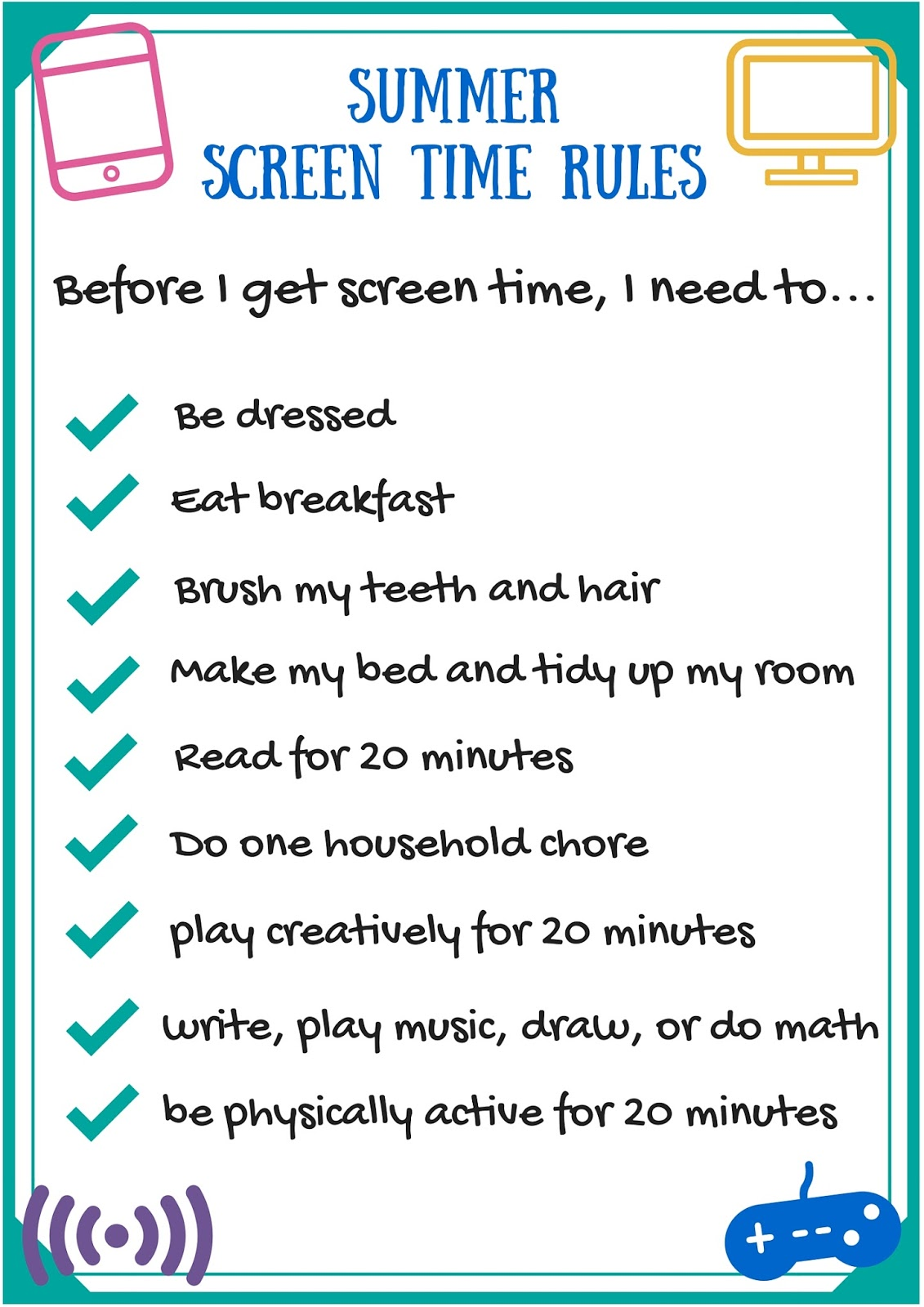 This is a photo of Comprehensive Printable Screen Time Charts