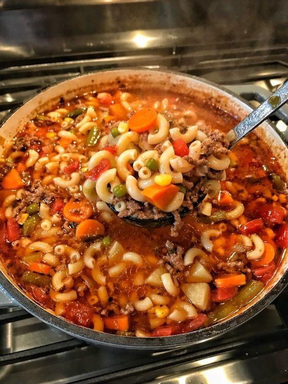 Macaroni & Hamburger Soup