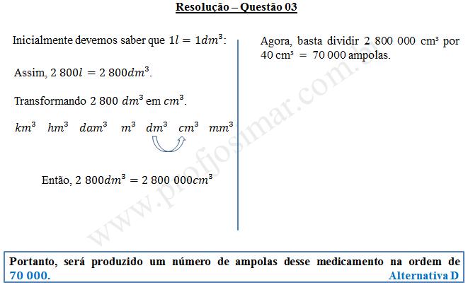 Questão 03 - Sistema de medidas usuais