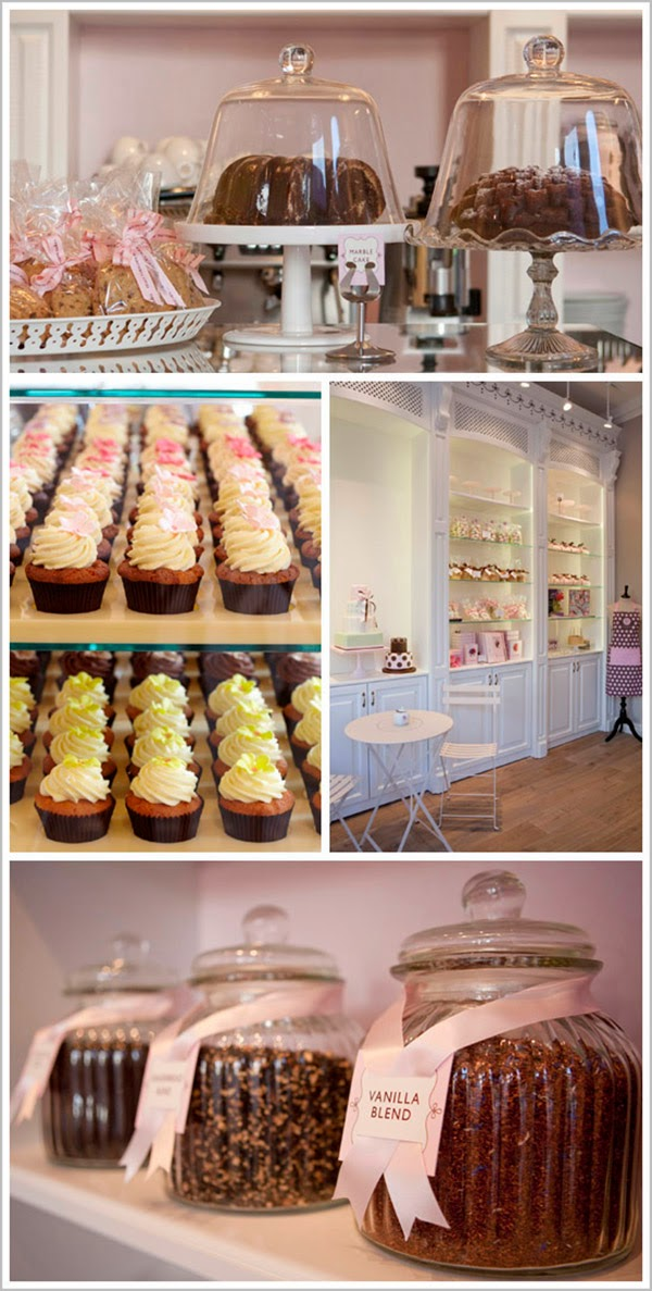 Cakes on display in Peggy porschen Cake Parlour