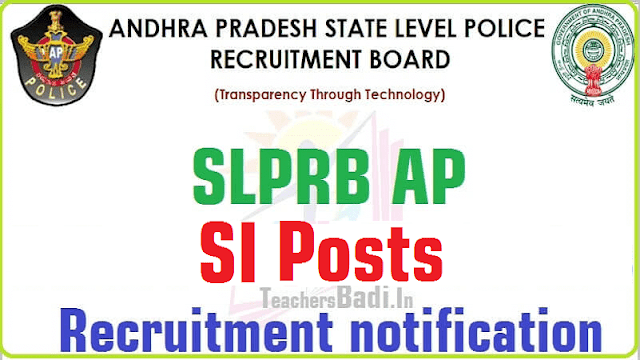 AP SI,Sub Inspectors of Police Posts, Recruitment SLPRB, AP