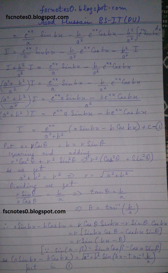 FSc ICS Notes Math Part 2 Chapter 3 Integration Exercise 3.4 Question 2 & 3 by Asad Hussain 6