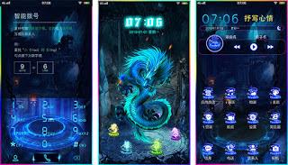 Tema Dragon Blue untuk Vivo Y53