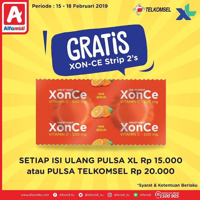 #Alfamidi - #Promo Gratis XON-CE Strep 2Pcs Setiap Isi Ulang XL & Telkomsel (s.d 18 Feb 2019)