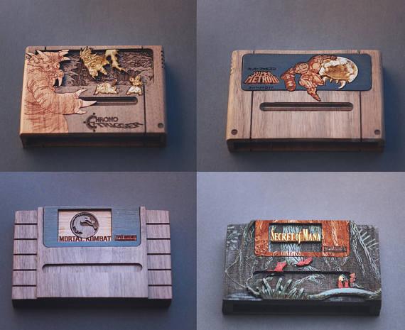Cartuchos de Nintendo en forma de madera, ¡una obra de arte!