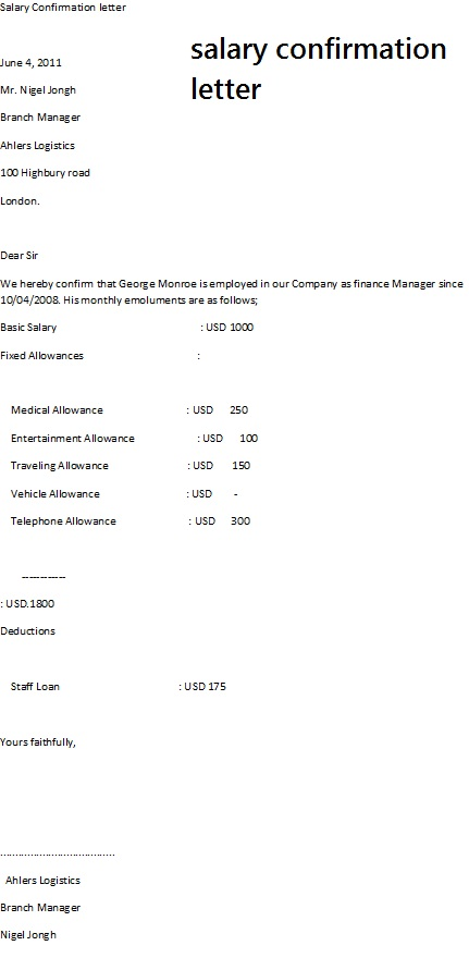 Salary Confirmation Letter - format of salary certificate letter