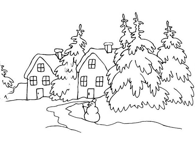 Gambar Mewarnai Pemandangan Musim Dingin