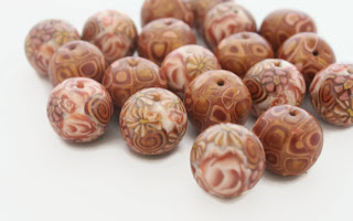 My Bronze Millefiori & Klimt Polymer Clay Beads, handmade by Lottie Of London