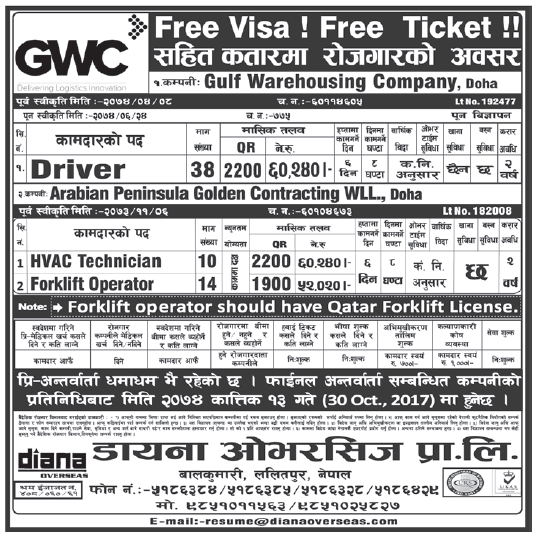 Free Visa Free Ticket Jobs in GWC for Nepali, Salary Rs 60,240