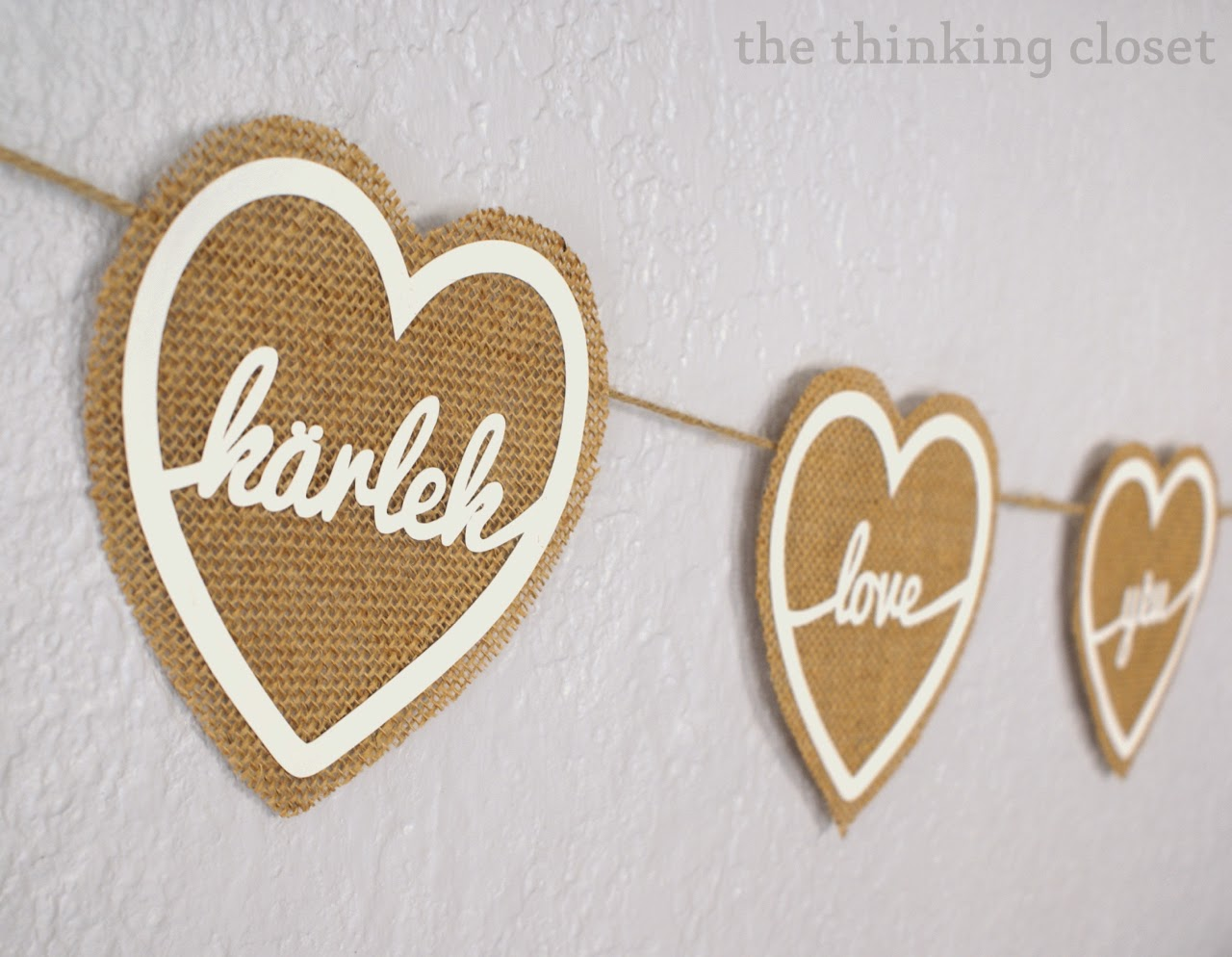 Silhouette, Silhouette project, valentine's day, project idea, burlap, love banner