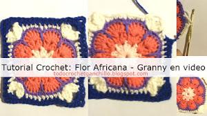 Aprende a tejer un cuadrado flor africana crochet
