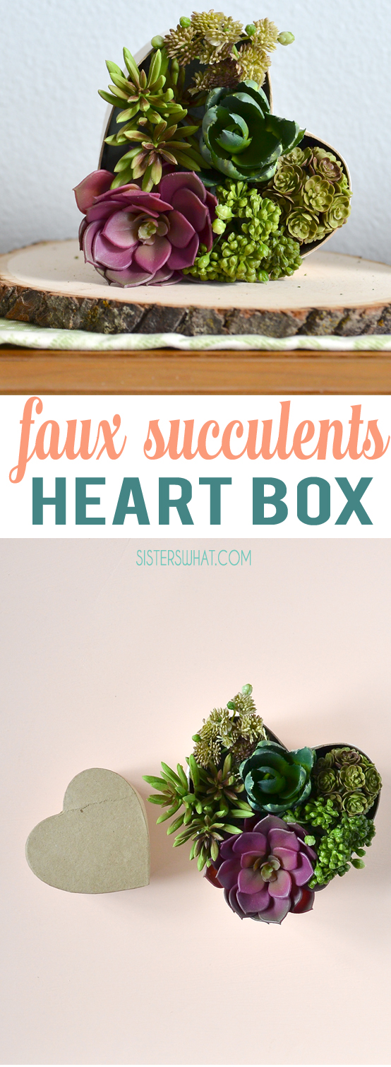faux succulent heart box tutorial