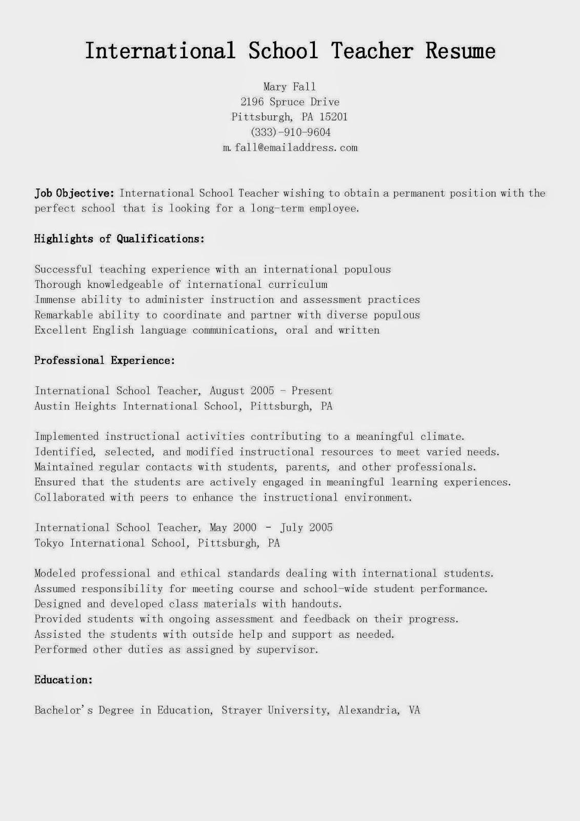 sample resume for international school