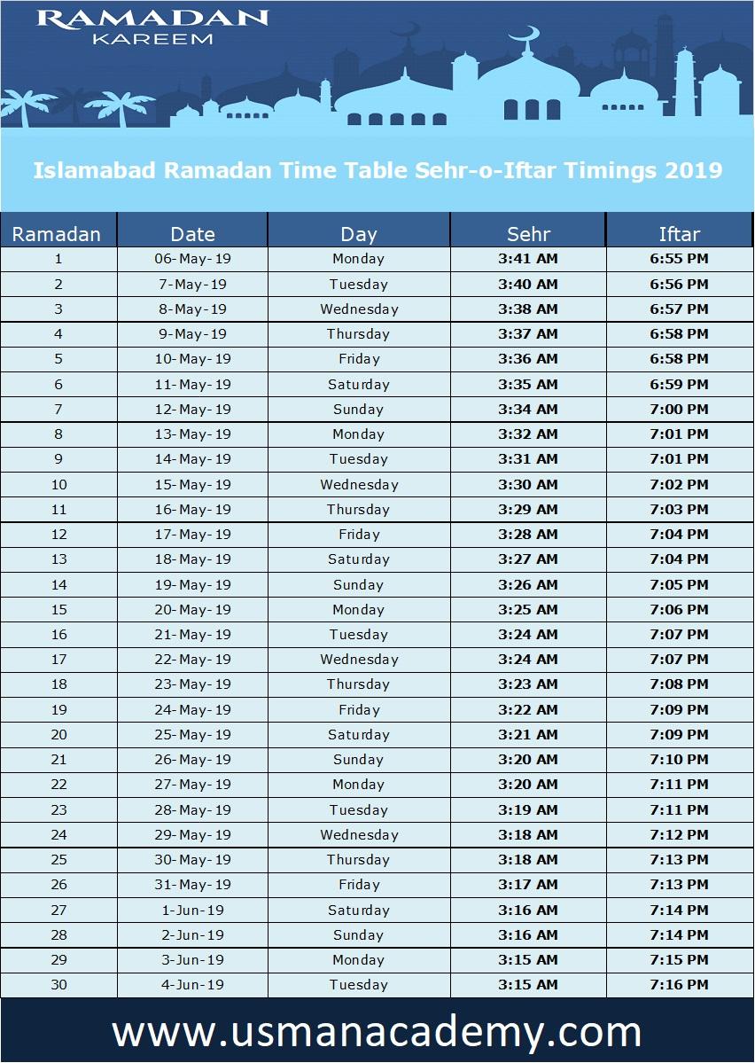 Ramadan 2019 Timings Calendar Schedule Ramazan Sehar O