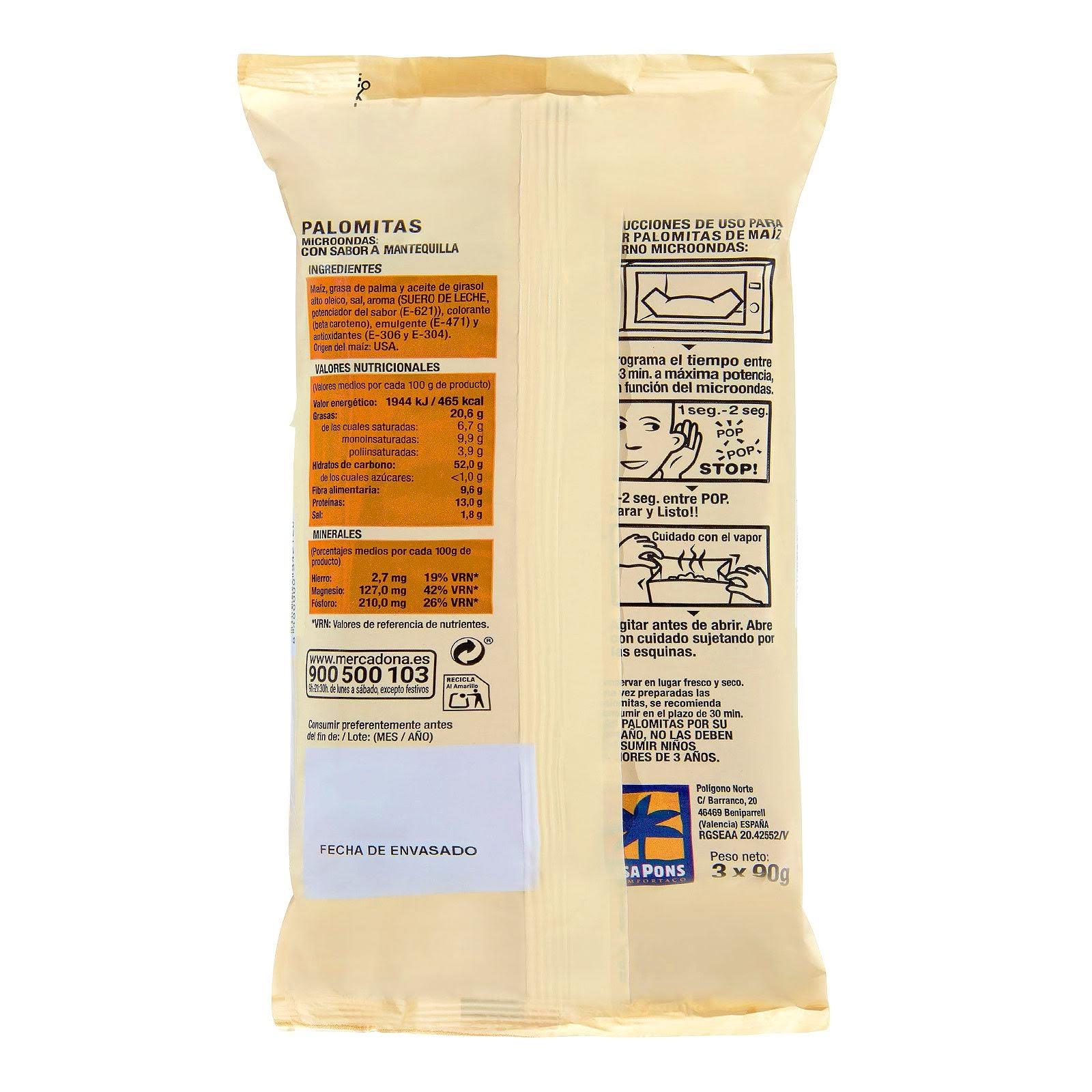 Palomitas de maíz con mantequilla para microondas Hacendado