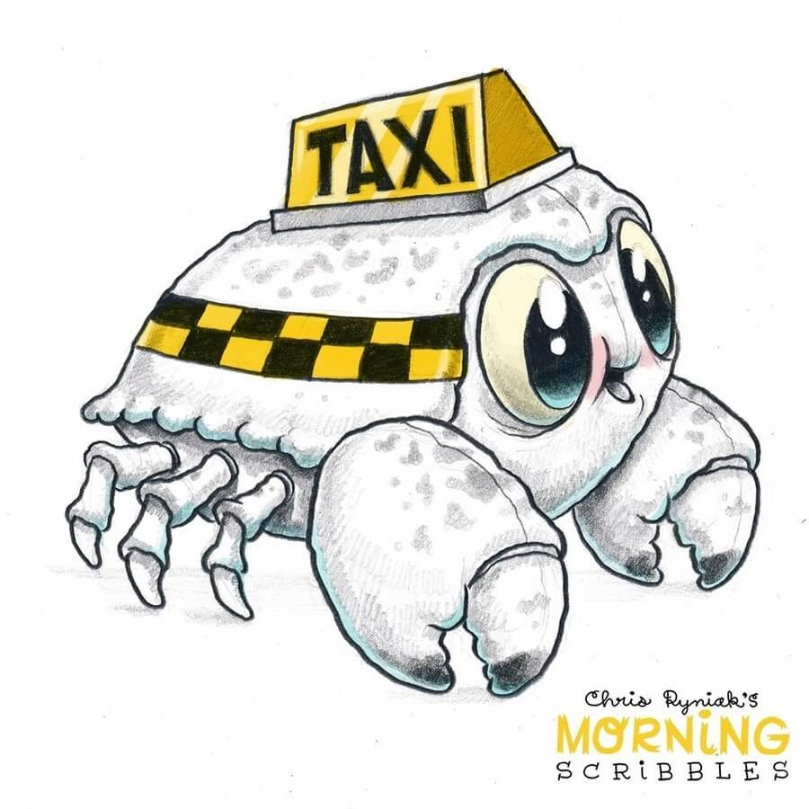 08-Taxi-Crab-Chris-Ryniak-Cute-Creatures-www-designstack-co