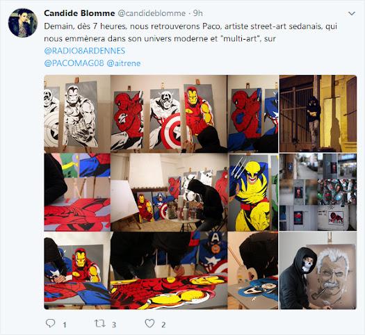 tweet Candide journaliste radio 8 sur Paco street artiste sedanais