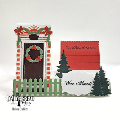 Our Daily Bread Designs Stamp Set: We've Moved, Custom Dies: Christmas Door Greenery, Welcoming Door, Trees & Deer, Mini Labels, Fence, Double Stitched Squares, Side Step Card, Paper Collection: Christmas 2017