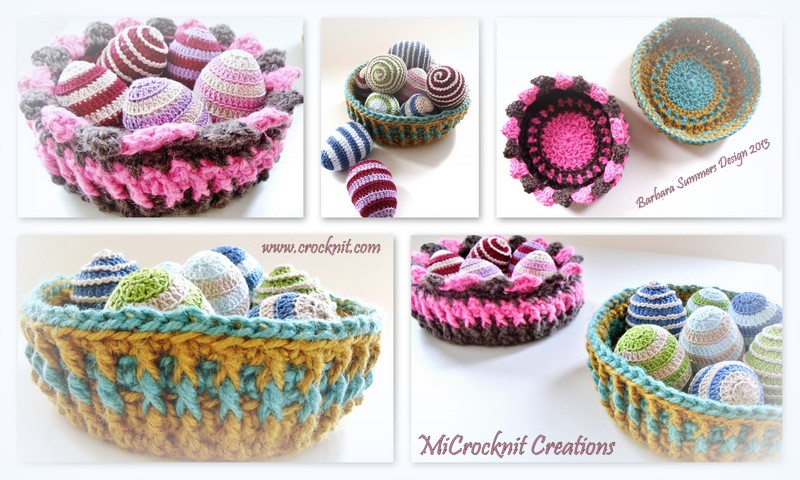 Microcknit Creations Bright Colours Crochet Baskets For Easter