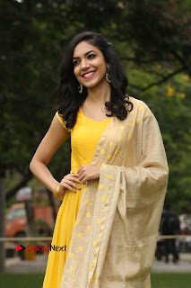 Actress Reetu Varma Stills in Yellow Salwar Kameez at Pelli Choopulu Success Meet  0053