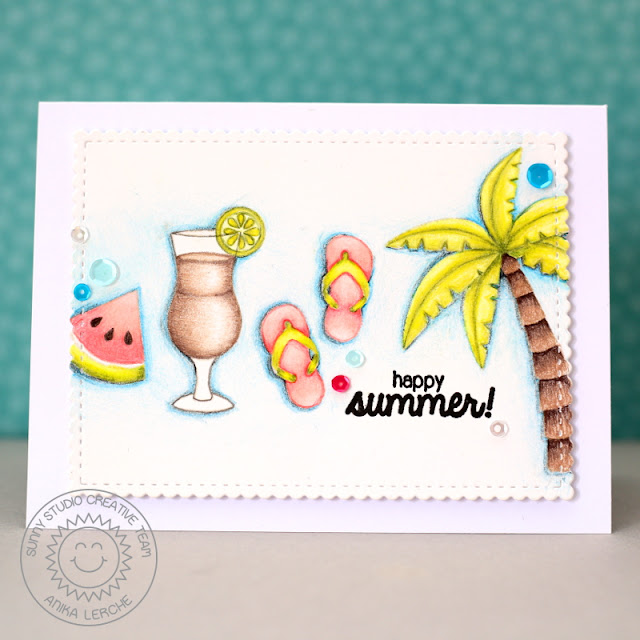 Sunny Studio Stamps: Tropical Paradise, Island Getaway & Fresh & Fruity Summer Card by Anni Lerche.
