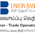 Vacancy In Union Bank   Post Of - Officer - Trade Operations