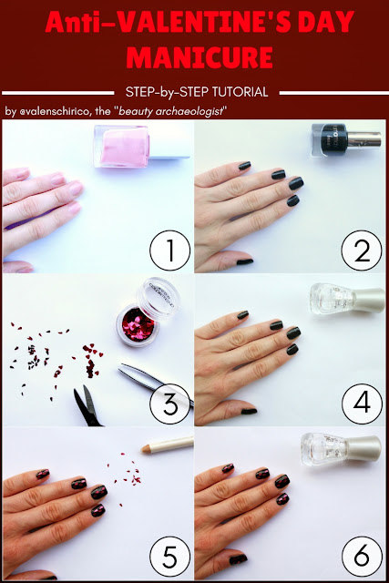 Anti-Valentine's day manicure, pinnable step-by-step tutorial by Valentina Chirico