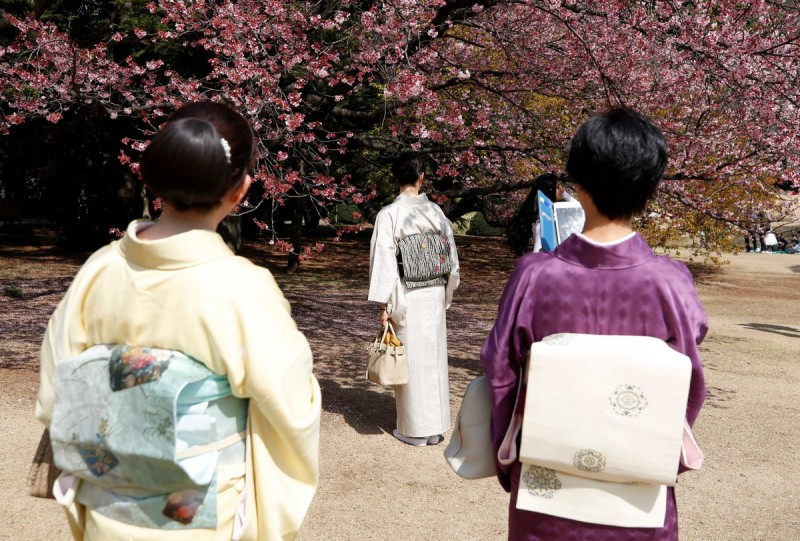 Restaurants scrambled to offer special delicacies inspired by cherry blossoms, while beverage firms have launched seasonal soft drinks and beer whose packages feature the blossom.