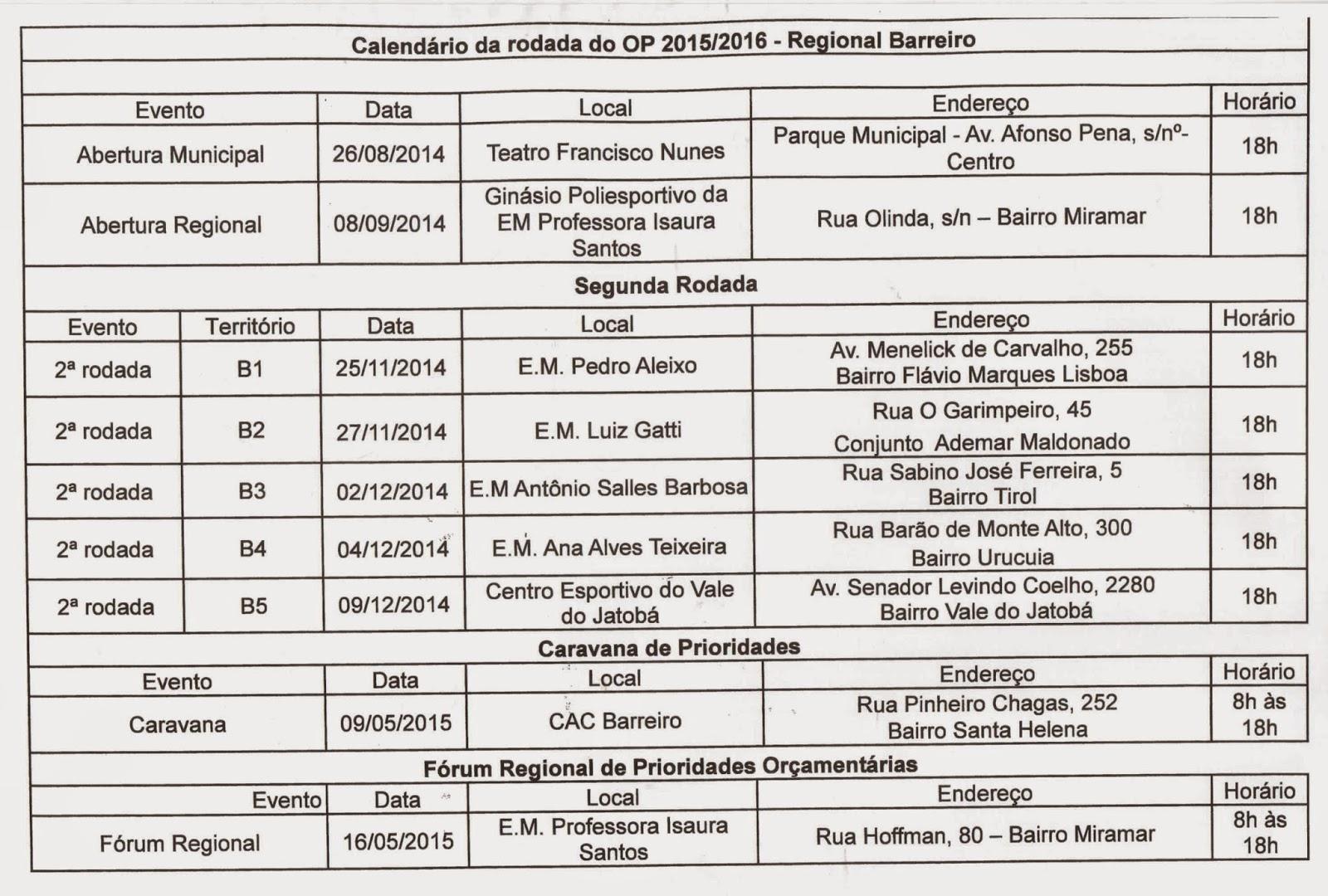 MOVIMENTOS SOCIAIS DO BARREIRO: 01/09/14 - 01/10/14