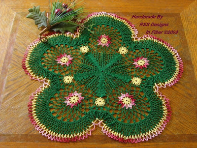 Scalloped Red and Green Doily with Flowers - Handmade By Ruth Sandra Sperling at RSS Designs In Fiber