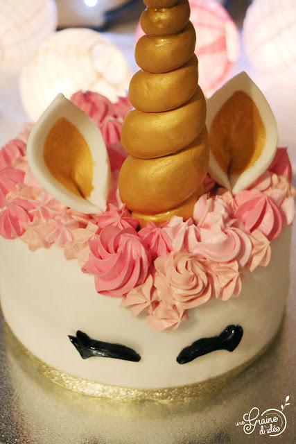Gâteau Licorne Rose Or Dorée Fille Baby Shower Anniversaire Recette pas à pas étapes par étapes Cake Design Surprise