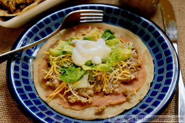 image of a plate of salsa verde pork tostada
