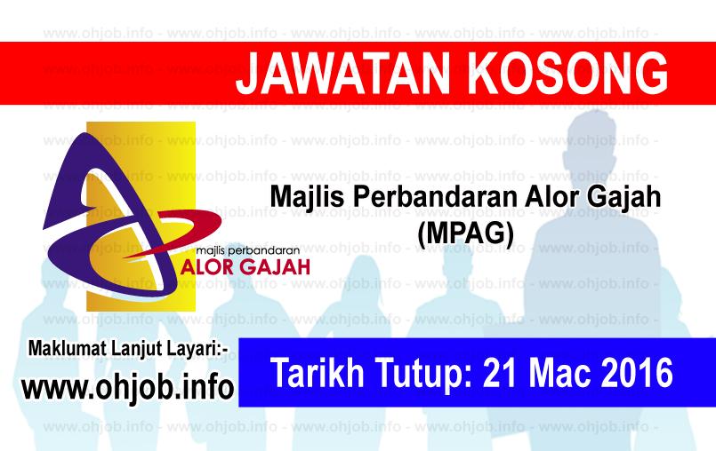 Jawatan Kerja Kosong Majlis Perbandaran Alor Gajah (MPAG) logo www.ohjob.info mac 2016