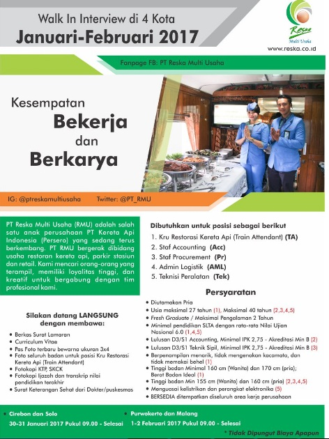 Walk-In Interview PT Reska Multi Usaha di 4 Kota Minimal SLTA