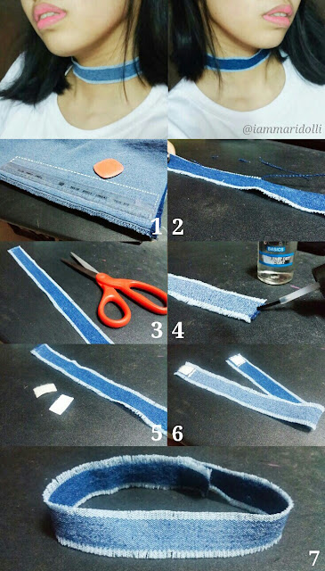 DIY How to Make Denim Choker #chokers