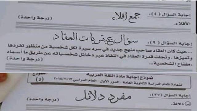 نموذج اجابة اللغة العربية للشهادة الثانوية 2018 دور أول