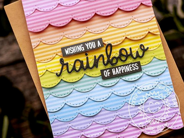 Sunny Studio Stamps: Over The Rainbow Stitched Scallops Rainbow Word Die Rainbow Themed Card by Eloise Blue