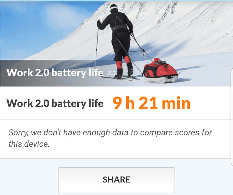 PC Mark battery benchmark clocked in at at least 9 hours