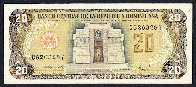 Dominican Republic currency 20 Pesos Oro banknote 1988 Altar de la Patria in Santo Domingo