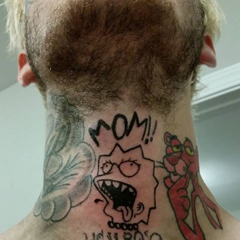 Mom tattoos on neck of lil peep
