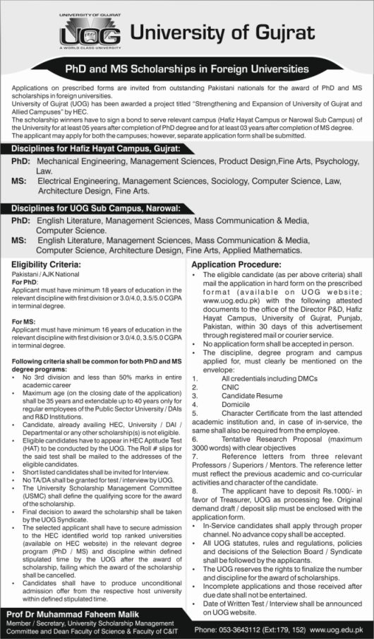 University of Gujrat Offers Scholarships for MS and PHD in Foreign Universities