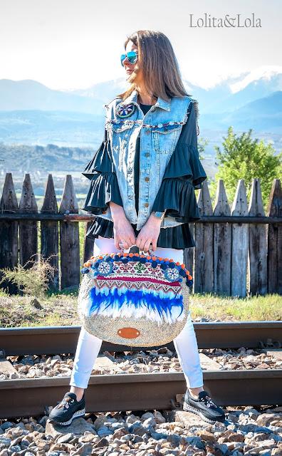 capazo chaleco boho chic vest denim indie gypsy strawbag