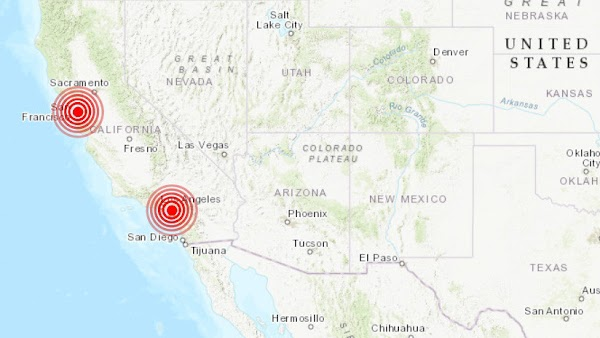 Se registran 2 sismos sobre la falla de san Andres.