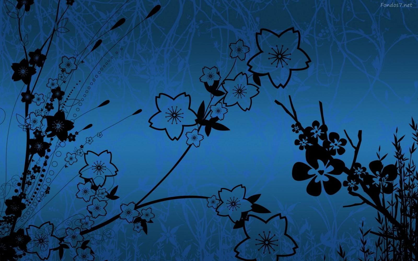 Wallpapernarium: Flores Negras Con Fondo Azul