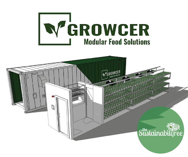 a technical diagram show the components of a Growcer unit