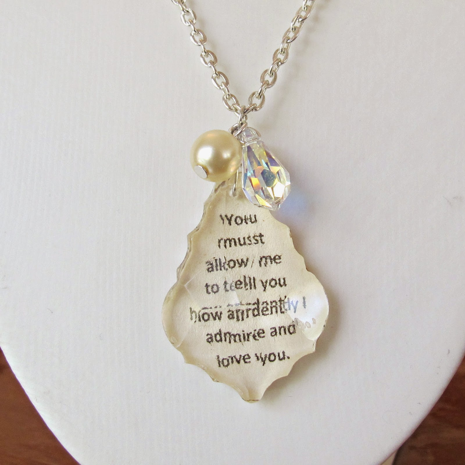 image mr darcy pendant necklace pride and prejudice proposal jane austen you must allow me to tell you how ardently i admire and love you swarovski crystal two cheeky monkeys wedding bridal jewellery