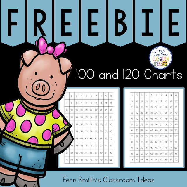 Free 100 Chart and 120 Chart Freebie perfect for kindergarten, first grade, and second grade, six different free printable charts from Fern Smith's Classroom Ideas at TpT, TeachaerspayTeachers.