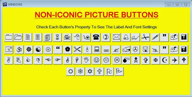 Non-iconic symbol picture buttons oracle forms