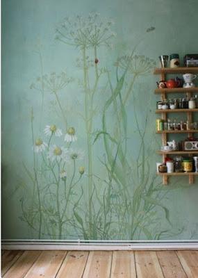 ציור הקיר לאמבטיה של פרחים